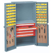 Storage Cabinet With Peboards, 8 Drawers & 64 Yellow Bins, 38x24x72