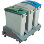 Rubbermaid Slim Jim Recycling Center w/3 Containers, 3 Trolley, 3 Lids