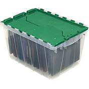 "Akro-Mils Clear Attached Lid Container, 21-1/2""L x 15""W x 17""H, Green Lid - Pkg Qty 3"