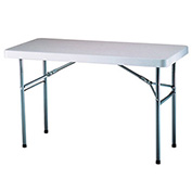 "Adjustable Height Folding Table 48""L x 24""W, 24 to 36""H - White"