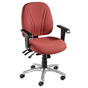 8-Way Adjustable Ergonomic Chair With Arms, Fabric Upholstery, Burgundy