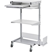 Mobile Computer Workstation with Keyboard, Printer Shelf and CPU Holder, Gray