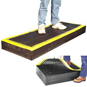 Anti Fatigue Mat, Black with Yellow Border, 36X96X1/8""