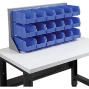 Louvered Bench Rack with (18) Blue Premium Stacking Bins, 36x15x20