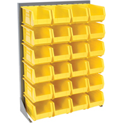 "Louvered Bin Rack With (24) Yellow Stacking Bins, 35""W x 15""D x 50""H"