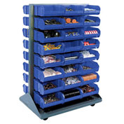 Double-Sided Mobile Rack with (96) Blue Bins, 36x25-1/2x55