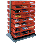 Double-Sided Mobile Rack with (48) Red Bins, 36x25-1/2x55