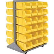 Double-Sided Mobile Rack with (48) Yellow Bins, 36x25-1/2x55