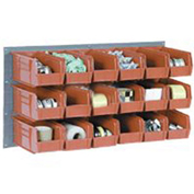 Wall Bin Rack with 32 Red Bins, 36x7x19