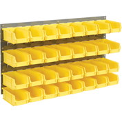 Wall Bin Rack Panel with (32) Yellow Bins, 36x7x19