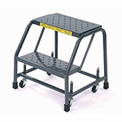 """Ballymore 218P Perforated 16""""W 2 Step Steel Rolling Ladder 10""""D Top Step"""