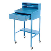 "Open Leg Mobile Shop Desk, 23""W x 20""D x 51""H, Blue"
