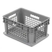 """Akro-Mils 37208 Straight Wall Container Mesh Sides & Base 15-3/4""""L x 11-3/4""""W x 8-1/4""""H, Gray - Pkg Qty 12"""