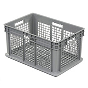 """Akro-Mils 37612 Straight Wall Container Mesh Sides & Base 23-3/4""""L x 15-3/4""""W x 12-1/4""""H, Gray - Pkg Qty 3"""