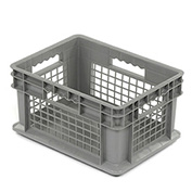 """Akro-Mils 37278 Straight Wall Container Mesh Sides Solid Base 15-3/4""""L x 11-3/4""""W x 8-1/4""""H, Gray - Pkg Qty 12"""
