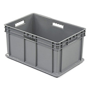 """Akro-Mils 37682 Straight Wall Container Solid Sides & Base 23-3/4""""L x 15-3/4""""W x 12-1/4""""H, Gray - Pkg Qty 3"""