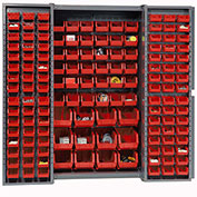 Bin Cabinet with 114 Red Bins, 38x24x72