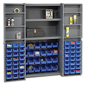 Bin Cabinet with 72 Blue Bins, 38x24x72