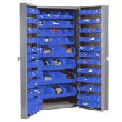 Bin Cabinet with 156 Blue Bins, 38x24x72