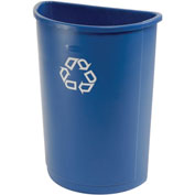 Half Round Rubbermaid Recycling Container, 21 Gallon, Blue