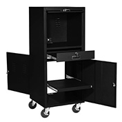 "Mobile Security Computer Cabinet, Black, 24-1/2""W x 22-1/2""D x 60-3/8""H"