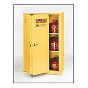 Eagle Flammable Cabinet with Self Close Bi-Fold Double Door, 45 Gallon, Yellow
