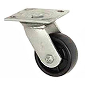 "Medium Duty Caster,  Swivel Plate, 3-1/2"" Soft Rubber Wheel, 200 Lb. Capacity"