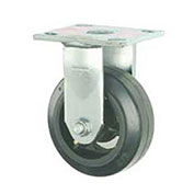 """Faultless Rigid Plate Caster 5"""" Mold-On Rubber Wheel"""