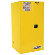 Justrite Flammable Cabinet With Manual Close Double Door, 60 Gallon, Yellow