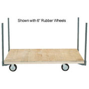 "Stake Handle Platform Truck w/Hardwood Deck, 60 x 30, 8"" Rubber Casters, 2400 Lb. Capacity"