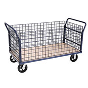 Euro Style Truck - 4 Wire Sides & Wood Deck, 60 x 30, 2400 Lb. Capacity