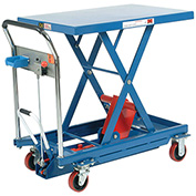 Mobile Scissor Lift Table with Hook-on Bin, 35 x 23 Platform, 1100 Lb. Capacity
