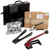 "Pac Strapping Steel Strapping Kit With Two 1/2"" x 200' Coils, Tensioner, Sealer, Cutter & Case"