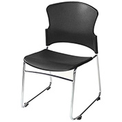 OFM Multi-Use Plastic Stack Chair, Black - Pkg Qty 4