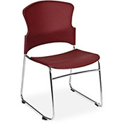 Sled Base Chair, Stackable, Burgundy - Pkg Qty 4