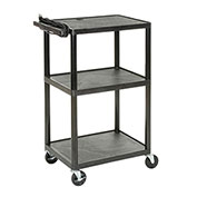 Plastic Audio Visual & Instrument Cart, 3 Shelf, 24 x 18 x 34