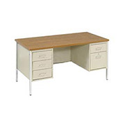 "Double Pedestal Desk, Putty/Oak Top, 60"" x 30"""