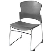 OFM Multi-Use Plastic Stack Chair, Gray - Pkg Qty 4