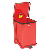 Fire Safe Step On Metal Trash Cans, 7 Gallon, Red