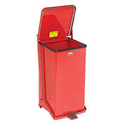 Fire Safe Step On Metal Trash Cans, 12 Gallon, Red
