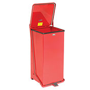 Fire Safe Step On Metal Trash Cans, 24 Gallon, Red