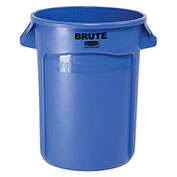 Rubbermaid Brute® Trash Container w/Venting Channels, 32 Gallon, Blue
