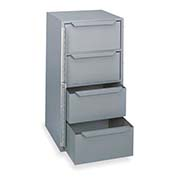 "DURHAM Bar-Lock Steel Drawer Cabinet - 12-9/16x12x24-3/8"" - (4) 10-15/16x10-3/4x4-7/8"" Drawers"