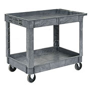 "2 Shelf Tray Service & Utility Cart, Plastic, 40""x26"", 5"" Rubber Casters"