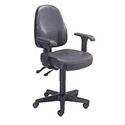 Operator Chair with Adjustable T-Arms, Leather, Black