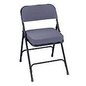 """2"""" Upholstered Folding Chair - Double Braced Gray Fabric & Black Frame - Pkg Qty 2"""