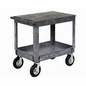 "Plastic Flat Top Shelf Service & Utility Cart 8"" Pneumatic Caster"