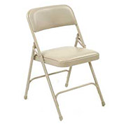 Steel Frame Folding Chair, Padded Vinyl Seat and Back, Beige - Pkg Qty 4