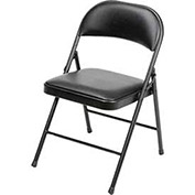 Steel Frame Folding Chair, Padded Vinyl Seat and Back, Black - Pkg Qty 4