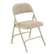 Folding Chair, Padded Fabric, Beige - Pkg Qty 4